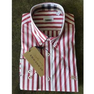 B U R B E R R Y London Men's Shirt White Red NWT